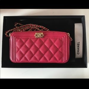 Chanel Fuschia double zip wallet on chain